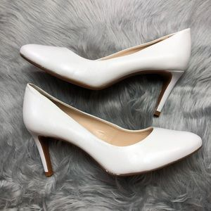 Alex Marie Ella white leather pumps